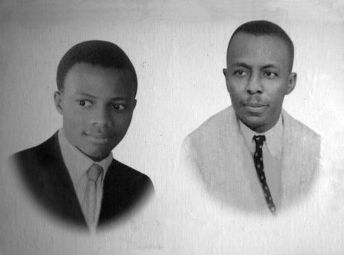 1.-Mosaïque Studio George, de gauche à droite, Cyrille Doualla et Georges Goethe